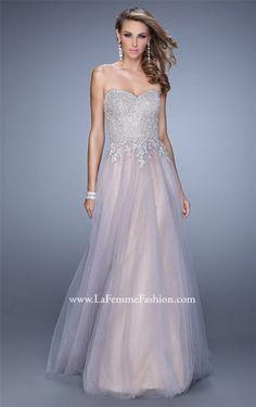 Long Grey Pink 21431 La Femme Formal Prom Dress for 2015
