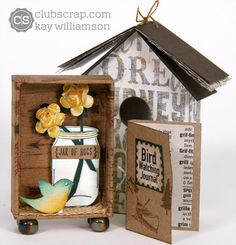 Adorable matchbox birdhouse made by Kay Williamson with the Club Scrap Adirondacks collection! #clubscrap
