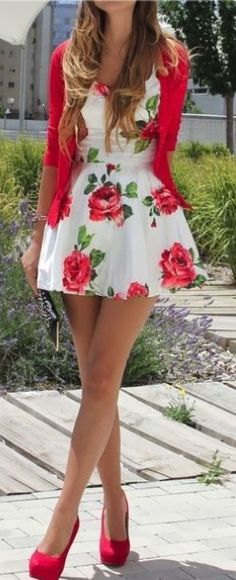 Cute simple rose dress for summer with a matching red cardigan