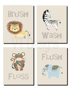Jungle Animals Bathroom Decor Kids Bathroom Art Tribal Jungle Animals Wash Flush Brush Floss Toddlers Set Of 4 Prints Or Canvas