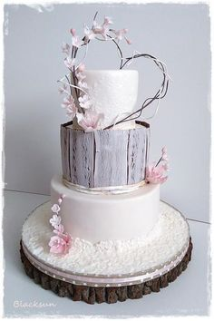 White and birchbark cake