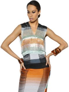 Missoni Beaded Viscose Fringed Top in Multicolor (MULTI)