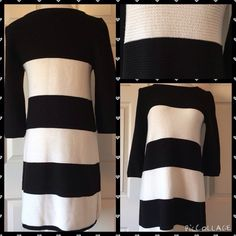 """H&M BLACK AND WHITE SWEATER DRESS Stay warm while looking OH SO CHIC in this black and white H&M sweater dress. Medium 35"""" length 34"""" bust 18"""" sleeve. All measurements were taken while laying flat without any stretch. 55% cotton 45% acrylic. In wonderful condition. No trades or PayPal. Thank you for visiting @treasuresbytrac  H&M Dresses"""