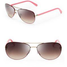kate spade new york Beryl Aviator Sunglasses ($150) ❤ liked on Polyvore