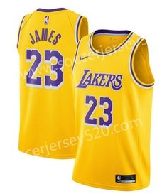 Lakers NBA Round Neck Yellow Jersey b5acc19d6