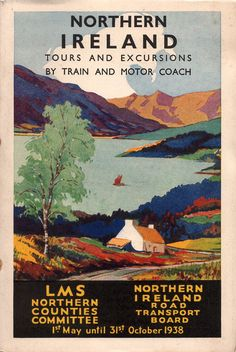 Another traditional view, of lough, isolated farmstead and mountains to lure people to holiday in Northern Ireland and use the services of both the London Midland Scottish Railway - Northern Counties Committee and the Northern Ireland Road Transport Board, both predecessors of the Ulster Transport Authority than became NIR and Ulsterbus in later years.