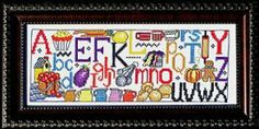 Kitchen Sampler by Bobbie G Designs is a colorful cross stitch sampler with a kitchen theme and funky alphabet!