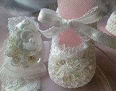 Christening Baby Girl Booties,  Baptism Crochet Baby Booties and Headband Pure White on Etsy, $35.00