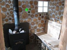 Cordwood sheds and cabins; sometimes known as Stackwall, Stovewood, Firewood or Cordwood Masonry. Sauna Design, Deck Design, House Design, Portable Steam Sauna, Cordwood Homes, Cob Building, Build My Own House, Outdoor Sauna, Natural Building