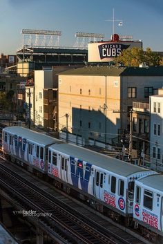 """""""On this day in I took one of my favorite photos - the Chicago Cubs World Series Championship CTA Train going by Wrigley Field. This took major coordination to pull off. Chicago Cubs Fans, Chicago Cubs World Series, Chicago Illinois, Chicago Chicago, Chicago Travel, Chicago Skyline, Baseball Park, Chicago Cubs Baseball, Baseball Live"""