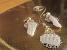 Oyster Shell Silver Filligree and Swarovski by HerointheVineyard, $40.00