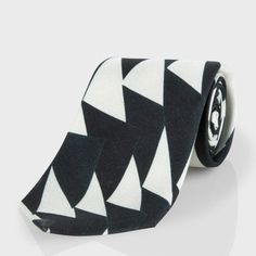 Paul Smith Men's Ties | Dark Green Triangle Print Silk Narrow Tie
