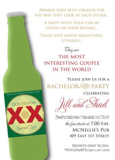 Most interesting couple invite by Paper Girl-fabulously fun couples shower idea!
