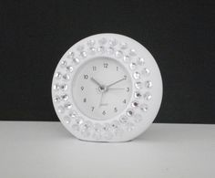 WHITE & BLING CLOCK  White with clear by LaurieBCreations on Etsy, $12.00