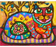 Cat Art Whimsical Art Mexican Folk Art Girls by AGirlAnOwlAndACat, $10.00