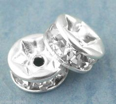 150PCs Silver Plated Rondelles Rhinestone Spacers Beads 6mm Dia.
