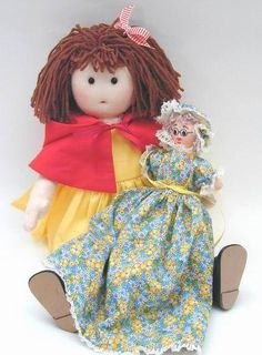 """red riding hood cloth doll + grandma/wolf flip doll. pattern includes all illustrated instructions and pattern pieces to make 17"""" red, her outfit and flip doll. $10 for complete PDF pattern download"""