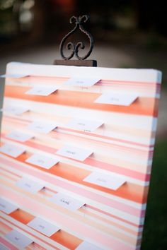 Escort Card Display ~ Photography by ginameola.com