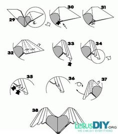 DIY paper folding - paper heart with two wings -----LetusDIY.ORG|DIY Everything here