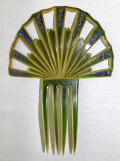Vintage Celluloid Art Deco Hair Comb, Green & Gold with Blue Rhinestones