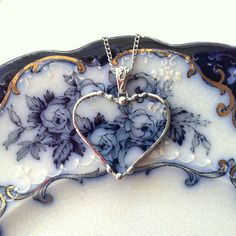 Broken china jewelry heart pendant necklace antique 1880's Flow Blue roses floral china