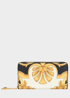 Barocco Grain Leather Zip Wallet from Versace Women s Collection. This zip  around wallet is made 99c48b8039f17