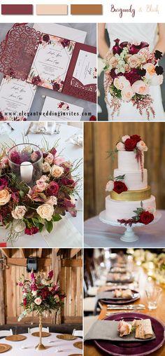 burgundy ,blush with gold wedding color palette