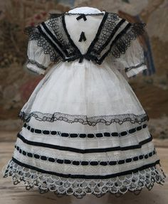 """Antique French Tulle Lace Dress for fashion doll about 14-15"""" (36-39 from respectfulbear on Ruby Lane"""