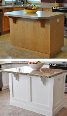 Great Pics kitchen island remodel Suggestions For many, a wonderful kitchen is just not complete with no an ideal kitchen area island. Painted Kitchen Island, Kitchen Island Makeover, Stools For Kitchen Island, Kitchen Redo, New Kitchen, Kitchen Remodel, Kitchen Dining, Kitchen Islands, Kitchen Pics