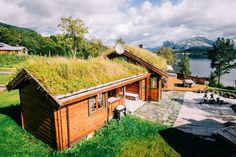 Med torvtak går hytta i ett med naturen - Byggmakker.no Cottage, Cabin, House Styles, Green, Google Search, Home Decor, Modern, Nature, Homemade Home Decor