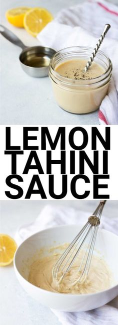 Crazy Addictive Lemon Tahini Sauce: One of my favorite sauces for any occasion! It only requires 4 ingredients, and it's naturally gluten free and vegan. Try it on tacos, salads, veggie t (Vegan Dip Tahini) Vegan Sauces, Vegan Foods, Corn Dogs, Lemon Tahini Sauce, Lemon Sauce, Tahini Dip, Lemon Tahini Dressing, Whole Food Recipes, Cooking Recipes