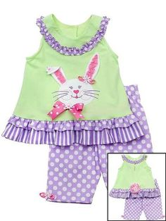 Amazon.com: Rare Editions Baby-Girls Infant Bunny Applique Capri set, Mint/Lilac: Clothing