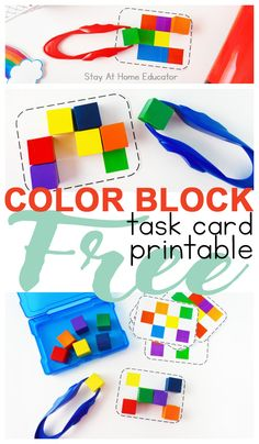 5 Activities for Teaching Colors to Preschoolers with Free Task Cards. These color activities are simple prep as well as engaging for toddlers and preschoolers! Toddler Fine Motor Activities, Preschool Color Activities, Preschool Lesson Plans, Preschool Printables, Rainbow Activities, Preschool Centers, Kindergarten Activities, Free Printables, Teaching Colors