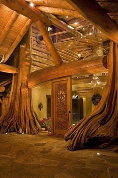 Tree Home WIN (As a rule, I don't actually like log houses.... but I'd totally rock this one......)