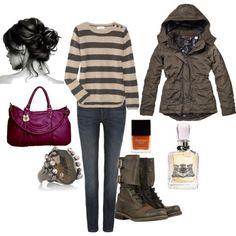 winter running errands outfit.
