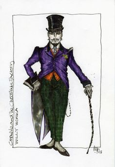 A sketch for Willy Wonka's costume design by Mark Thompson for Charlie And The Chocolate Factory © Mark Thompson