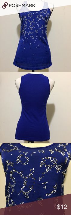 EXPRESS Rhinestone Tank Top SZ XS This Express tank top is in great condition. No missing rhinestones. Size Extra Small. Royal blue in color. Rhinestones are gold and silver. Express Tops Tank Tops