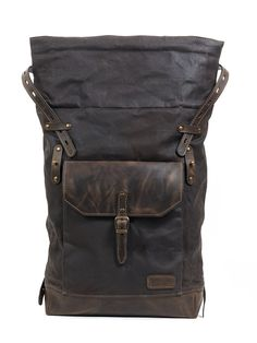 Roll top canvas leather backpack for laptop, in dark brown. Waxed Canvas Bag, Canvas Backpack, Canvas Leather, Canvas Bags, Leather Roll, Leather Craft, Leather Bag, Brown Leather, Top Backpacks