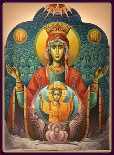 Icon of the Virgin of the Sign. Religious Icons, Religious Art, Mama Mary, Religious Paintings, Byzantine Icons, Holy Mary, Madonna And Child, Blessed Virgin Mary, Catholic Art