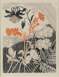 Campions and Columbines linocut for Curwen Press by Edward Bawden (1947)