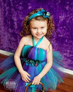 NEW TO SHOP Peacock colored tutu dress with Hydrangea flowers. $45.00, via Etsy.