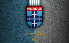 Download wallpapers PEC Zwolle FC, 4K, Dutch football club, leather texture, logo, emblem, Eredivisie, Zwolle, Netherlands, football, Dutch Football Championship