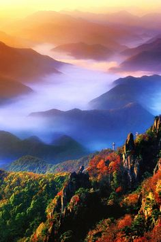 Mt. Daedun, South Korea.  OK, maybe not my ultimate travel desire, but what a picture!  Who wouldn't want to visit a place this beautiful?