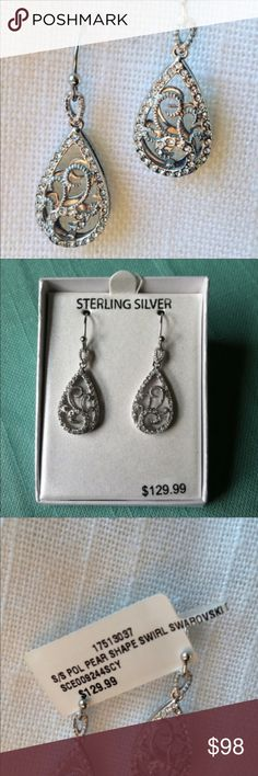 Sterling Silver Crystal Teardrop Earrings New Marked 925. Brand new in box. Sterling silver Swarovski crystal double decker pear shape drop earrings. Made with Swarovski crystal elements. Double decker pear shape pendants. Swirl design. Jewelry Earrings