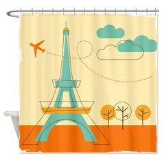 Paris Eiffel Tower Painting Shower Curtain on CafePress.com