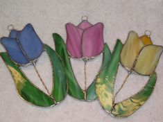 Tulip Stained Glass Suncatcher Original and Exclusive Design Handmade Glass Flower Stained Glass Flowers, Stained Glass Art, Mosaic Glass, Stained Glass Projects, Stained Glass Patterns, Stained Glass Suncatchers, Clay Design, Sun Catcher, Flower Patterns