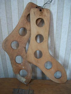 Rustic Pair of Wooden Stocking Dyers or Stretchers Size 6