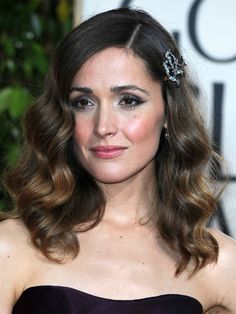 Old Hollywood ~ Rose Byrne secures her gently tousled strands with a crystal hair clip.