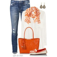 #brahmin summer chic   I may have already pinned this, but the ORANGE and Brahmin Bag make it worth a 2nd pin! Love.It.