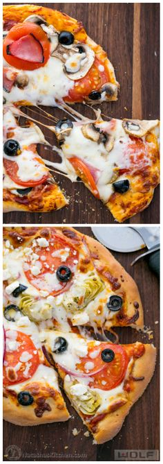 The Best Homemade Individual Pizzas (Greek and Supreme Versions). Great idea for Father's Day! #sponsored @NatashasKitchen